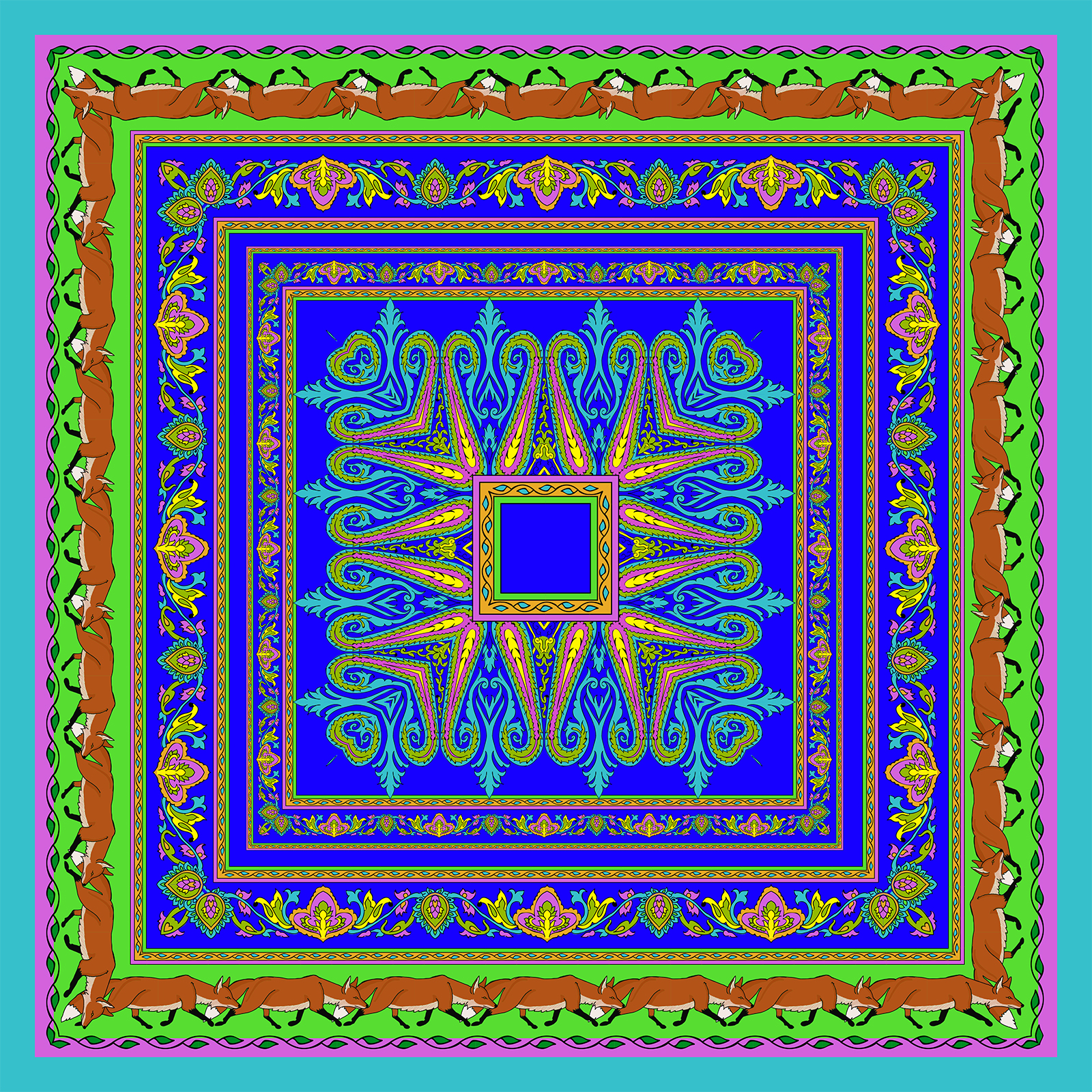 Paisleys on blue red and green